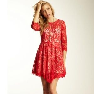 FREE PEOPLE RED LACE FIT FLARE SKATER DRESS 4